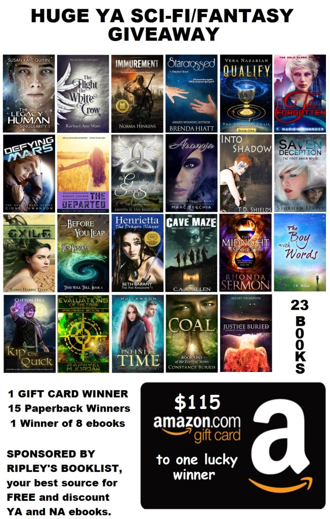 giveaway ya fantasy sci-fi amazon giftcard paperback ebook