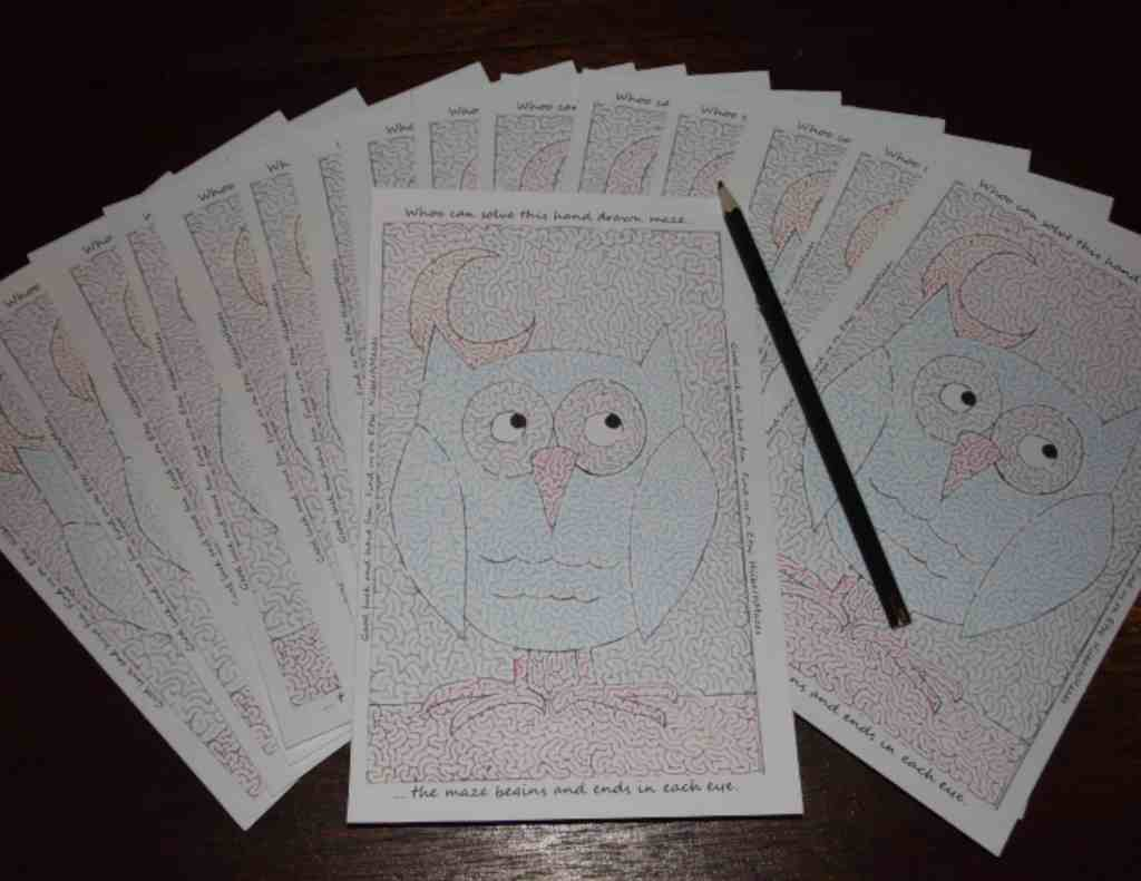 Free Printable Hand Drawn Owl Maze. Easily downloadable and printable PDF format. Great Mazes for both kids & adults very challenging but fun.