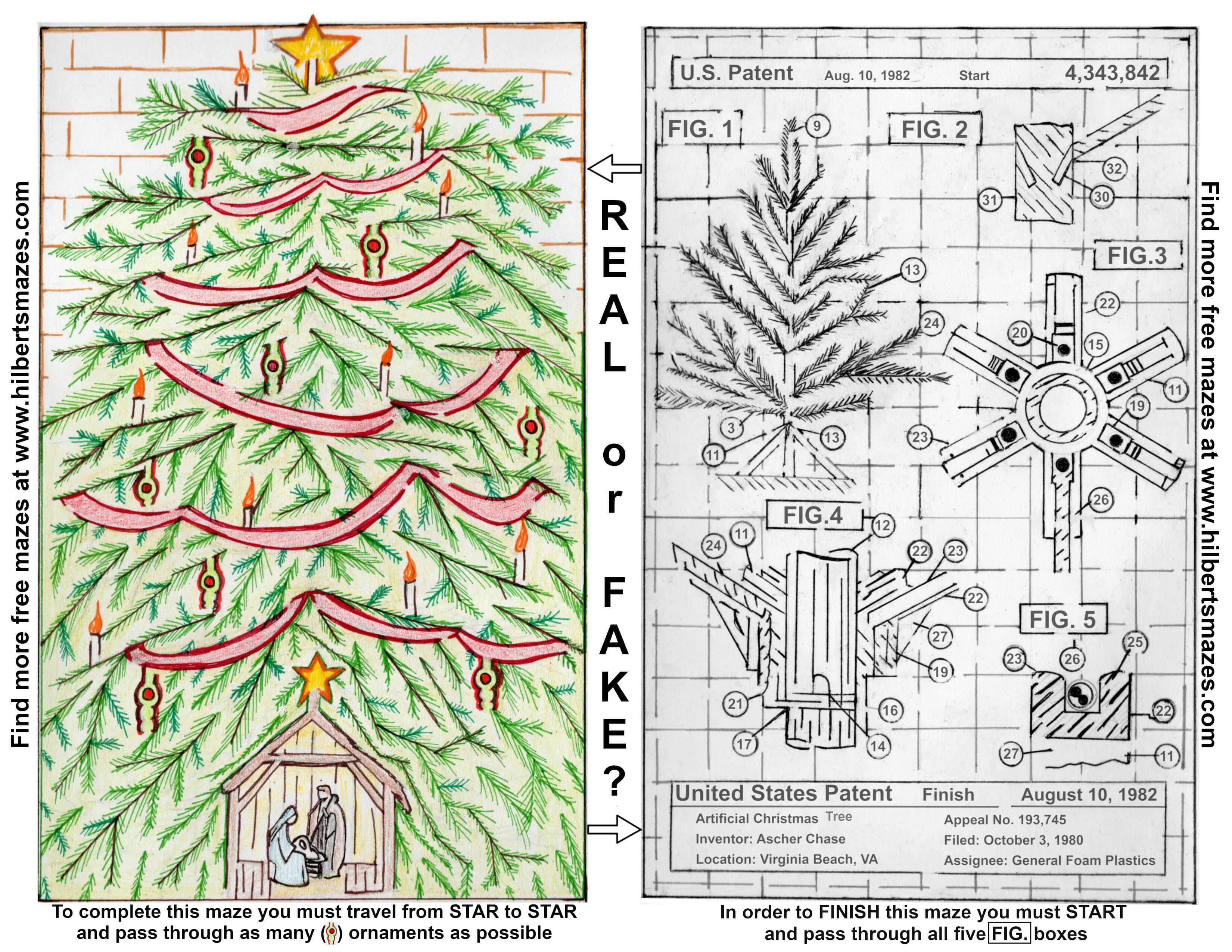 Hand Drawn Christmas Tree Maze
