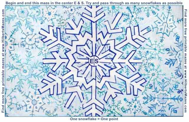 Free Printable Hand Drawn Snowflake Maze. Easily downloadable printable PDF format. Great Mazes for both kids & adults very challenging but fun.