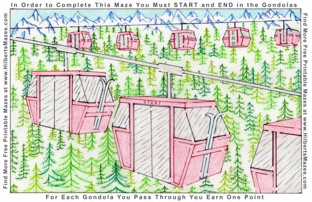 Free Printable Hand Drawn Winter Ski Gondola Maze. Easily downloadable printable PDF format. Great Mazes for both kids & adults very challenging but fun.