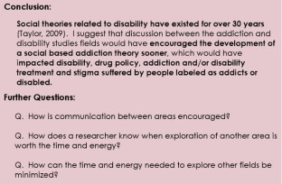 Some of the conclusions, which said that these two areas working together could result in some interesting change to addiction and disability policy.