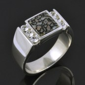 Mans gray dino and white sapphire ring