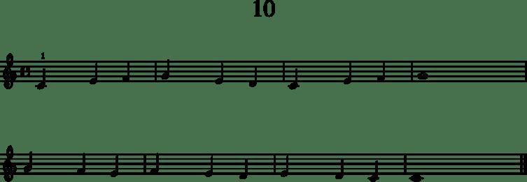 Alkeistason pianonuotteja: 10