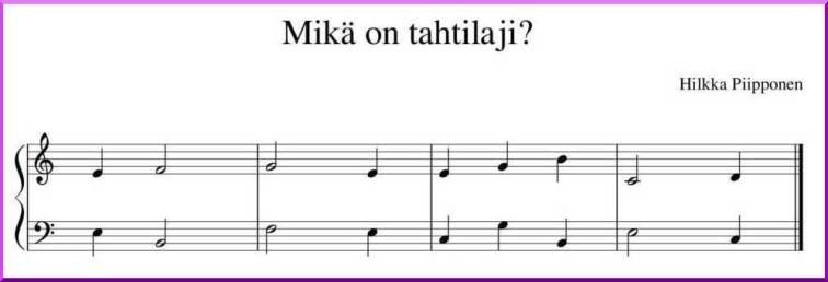 Ensimmäinen pianotunti: tahtilajitehtävä.