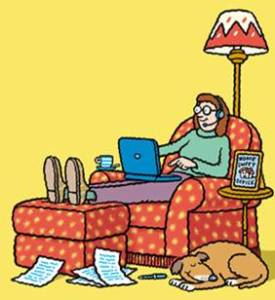 cartoon of me in sofa chair with a dog curled up on the floor