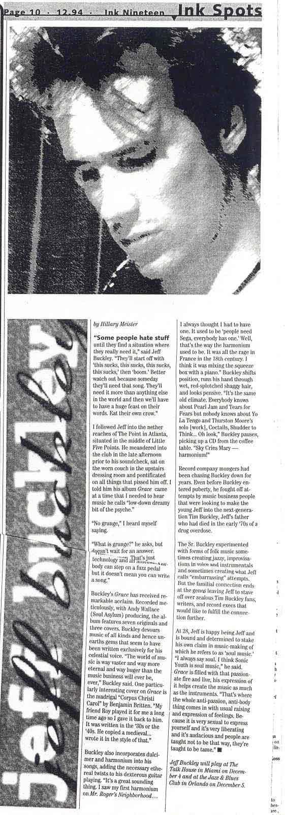 Jeff Buckley Ink 19 Interview