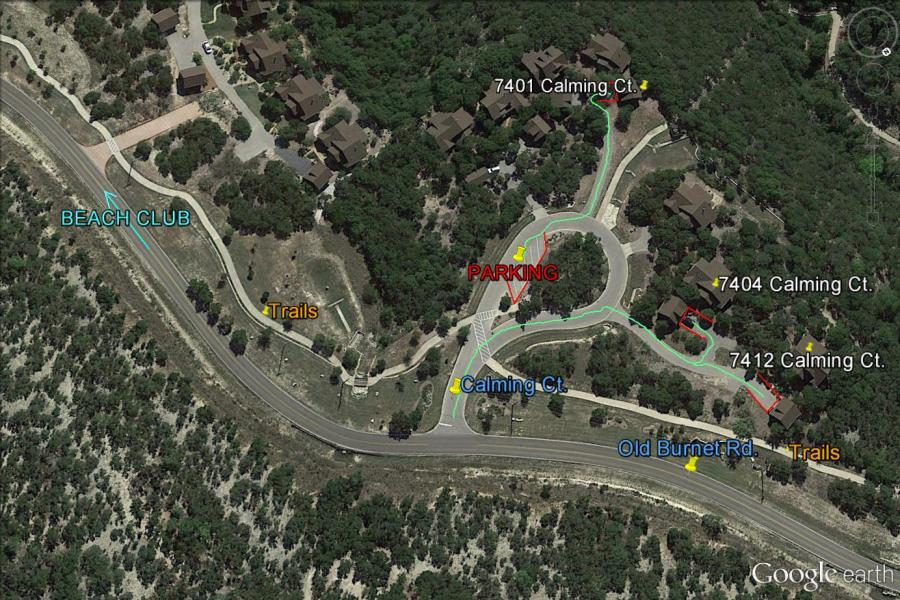 Hollows Aerial Maps   Hill Country Lakes Rentals Calming Court     Cottages   Assigned Parking