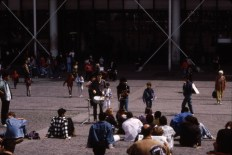 Street musicians at the Pompidou Center circa 1993