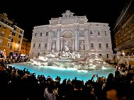 Night shot of Trevi Fountain in Rome