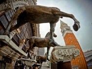 The famous (replica) horses over St. Mark's Basilica in Venice, Italy