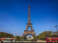 Eiffel Tower and tour buses