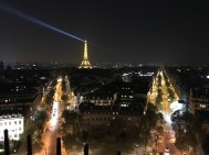 Eiffel Tower sentry lights - viewed from Arc de Triomphe