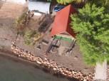 Drone shot of cabin