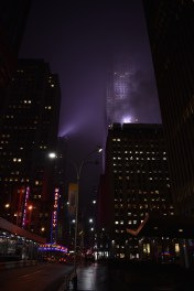 Radio City Music Hall on a foggy night