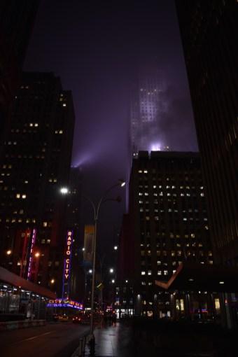 Radio City Music Hall on a foggy night