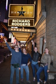Outside Rodgers Theater the day before Hamilton