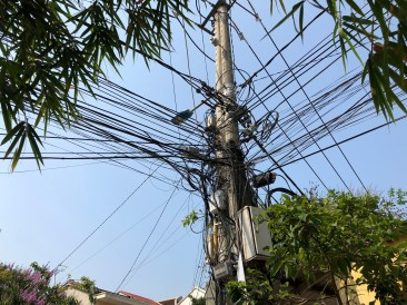 A mess of electrical wires in Vietnam