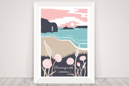 Digital illustration of Perranporth beach in Cornwall, with sea thrift and ribwort