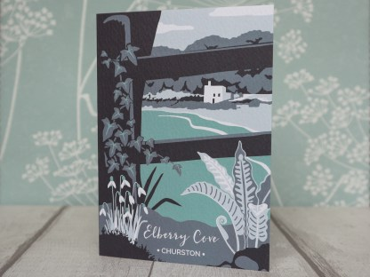 A6 greetings card, featuring Elberry Cove in Churston, Devon