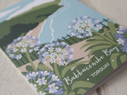 detail of A6 greetings card, featuring Babbacombe Bay in Torquay, Devon
