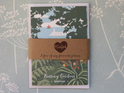 pack of 4 greetings cards, featuring battery gardens in Brixham, devon