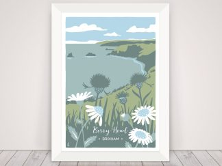 Digital illustration of Berry Head in Brixham, Devon. Nature coastal art print featuring ox-eye daisies and knapweed.