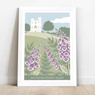 framed print of Haldon Belvedere in Devon, wedding venue with foxgloves and ferns
