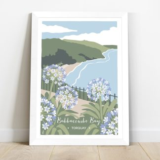 Digital illustration of Babbacombe Bay in Torquay with agapanthus flowers