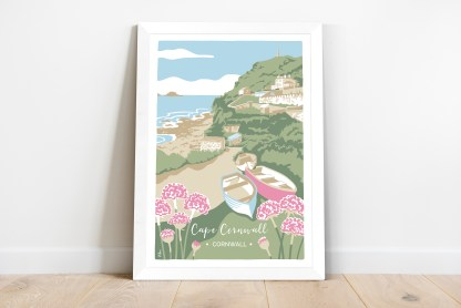 framed print of Illustration featuring Cape Cornwall, with fishing boats and sea thrift. Coastal themed print inspired by the natural environment.