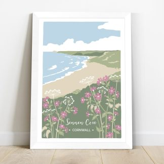 framed print featuring Sennen Cove beach in Cornwall, with red campion and cow parsley. Coastal themed print inspired by the natural environment.