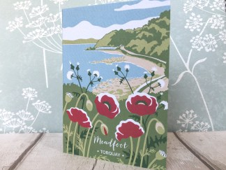 A6 blank greetings card, featuring meadfoot beach in Torquay, Devon