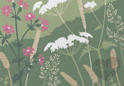 Detail of cockington court illustration with wildflowers, print of cockington park in torquay