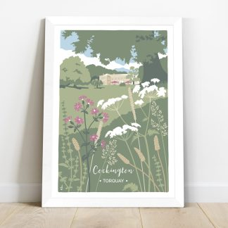 Framed print of cockington court illustration with wildflowers, print of cockington park in torquay