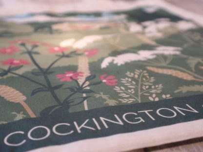 detail of tote bag with cockington illustration
