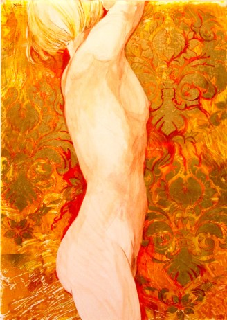 Steve Hillier and Susan Skuse | Golden Girl | Polychrome Pencil and acrylic monoprinting | 550 x 430mm | $450