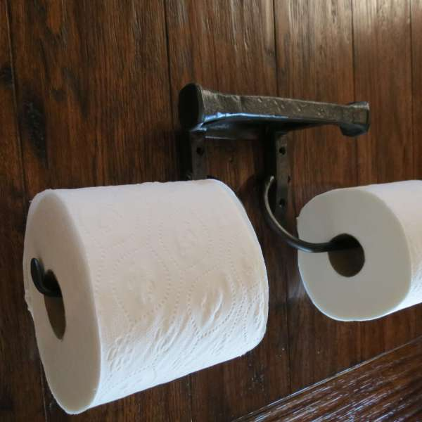 Hammered Square Double Toilet Paper Holder