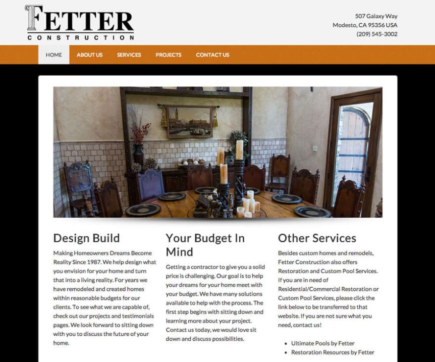 Fetter Construction Website Project - Hill Media Group - Modesto Web