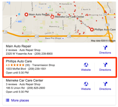 Auto Repair Manteca Google Search Result