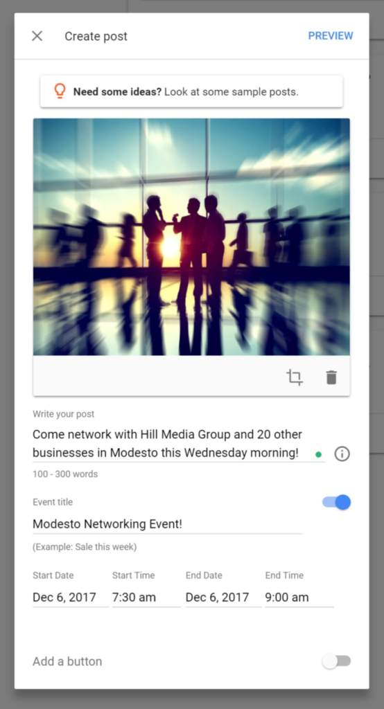 Create an Event Post to Google My Business Listing