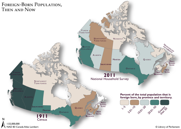Illustrations show two maps showing the percentage of foreign-born Canadian population in 1911 and 2011, according to Statistics Canada census data