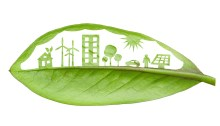 Green futuristic city living concept.