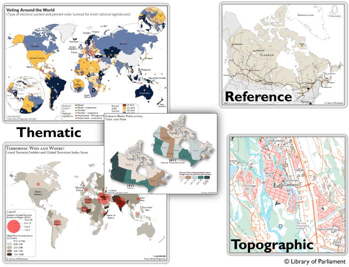 Figure 3 contains five map examples to illustrate the different map types. There are three thematic maps: one world map showing percent voter turnout; one world map showing the terrorism index and a comparative map showing immigration in Canada in 1911 and 2011. There is one reference map of Canada showing the main rail and road systems as well as provincial and national capitals; and one topographic map showing elevation, road, rail, water and landmarks of interest.