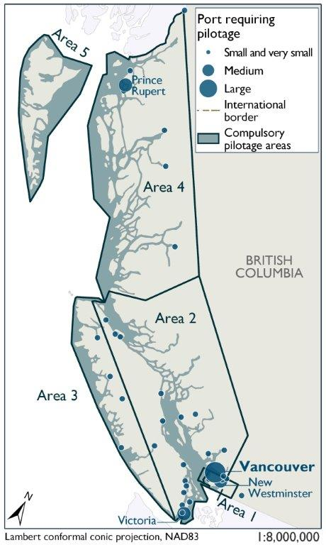 This map identifies the 5 zones along the West Coast of British Columbia in which there are ports that require official pilotage. Port size is illustrated as defined by the World Port Index. As expected, the medium sized ports of Victoria Harbour, Prince Rupert and New Westminster as well as the large port of Vancouver require pilotage. There are also several small and very small ports requiring pilotage that dot the coastline around Vancouver Island and up the West coast of BC.