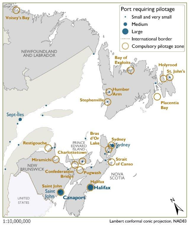 This map illustrates many small and very small ports requiring compulsory pilotage in Eastern Canada. Saint John, the Canaport LNG terminal port, and Halifax are the largest ports, while Sydney maintains a medium port. Not all small and very small ports appear in the World Port Index.