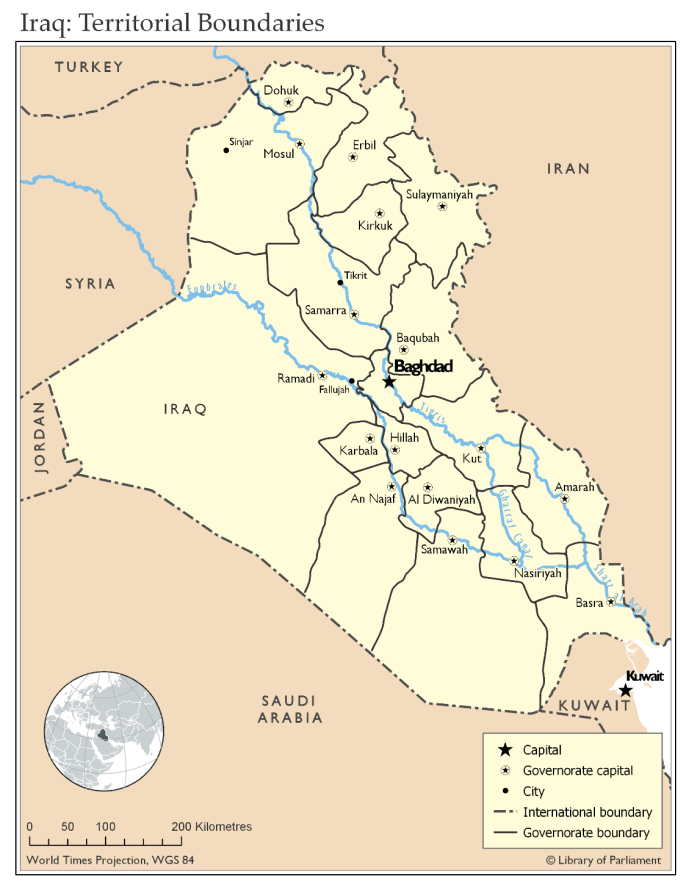 This map illustrates the territorial boundaries within Iraq, as well as Iraq's boundaries with neighbouring countries. In the map, the boundaries of the 18 governorates within Iraq are depicted together with the capital of each governorate. Other cities mentioned in this publication are also identified, namely Sinjar, Tikrit, and Fallujah. The countries surrounding Iraq are identified: Kuwait; Saudi Arabia; Jordan; Syria; Turkey; and Iran. The map also depicts the Euphrates and Tigris rivers, the confluence of which is in Shatt al Arab. The Gharraf Canal also connects the two rivers.