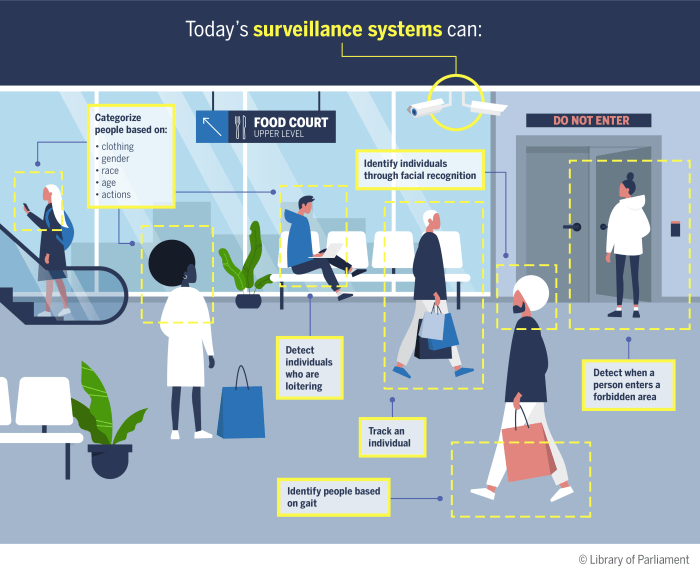 The infographic depicts surveillance cameras in a public setting and shows that surveillance systems can track individuals, as well as categorize them based on clothing, gender, race, age and actions. It shows surveillance cameras identifying individuals through facial recognition and by their gait. It also depicts cameras detecting people loitering and entering forbidden areas.