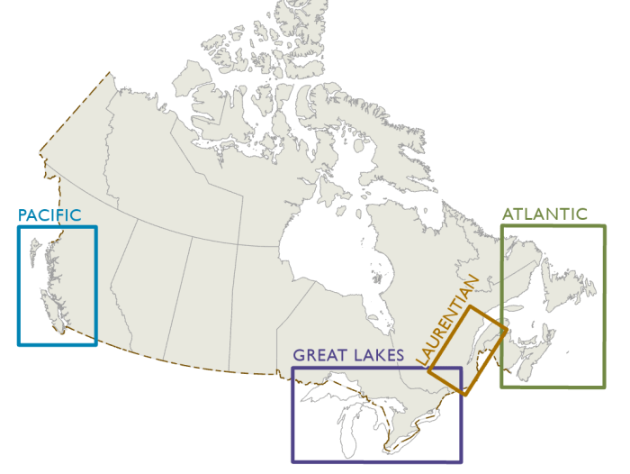 Map showing the four pilotage authorities in Canada : Pacific, Great Lakes, Laurentian and Atlantic.