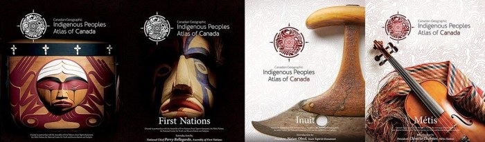 These 4 images show the covers of each volume of the Indigenous Peoples Atlas of Canada. The titles of the four volumes are: Truth and Reconciliation; First Nations; Inuit; and Métis.]