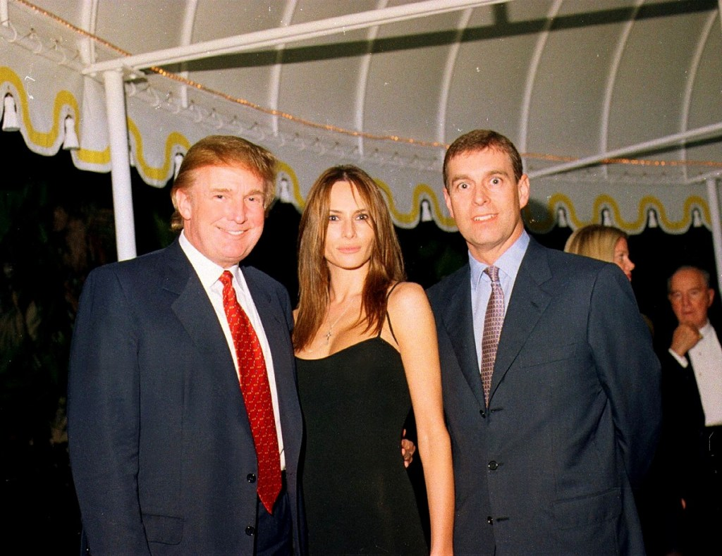 Donald Trump hanging out with Prince Andrew decades ago